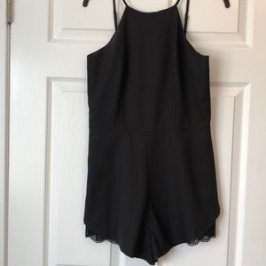 Black Tank Romper with Lace Cut out